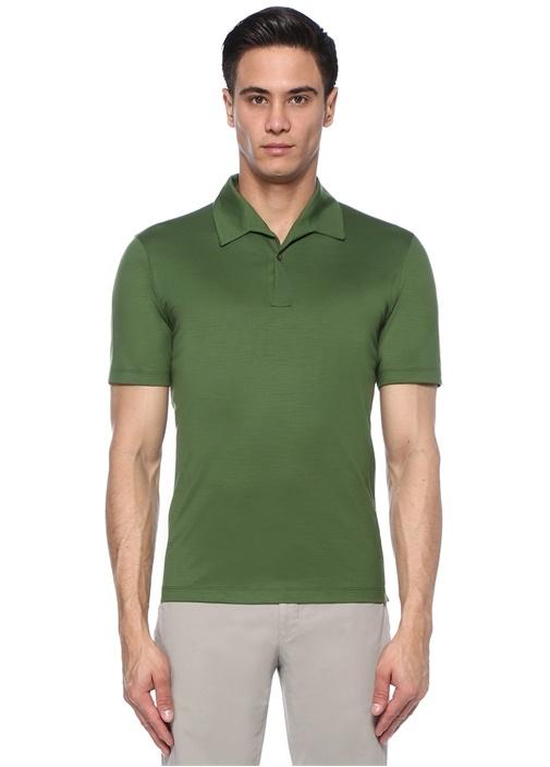 Yeşil Polo Yaka Yün T-shirt