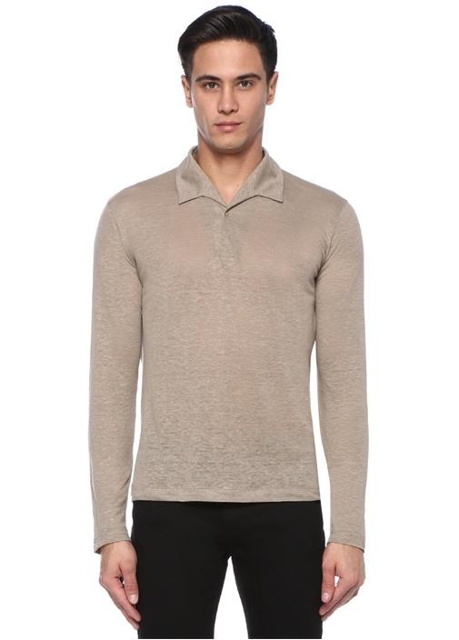 Bej Polo Yaka Keten Sweatshirt