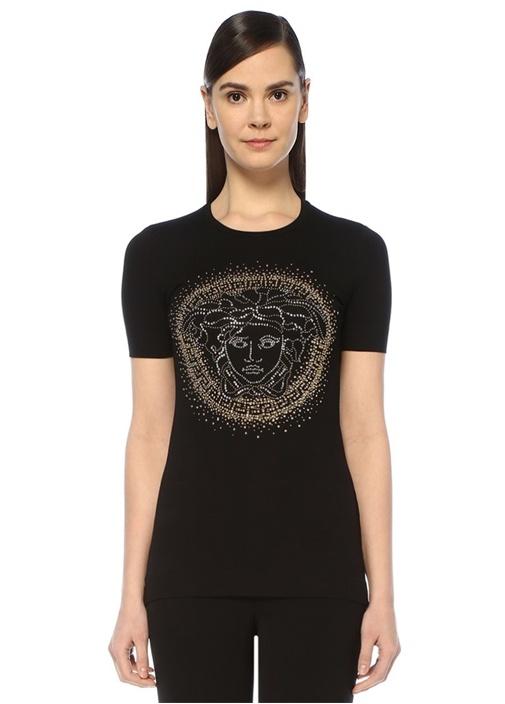 Siyah Gold Medusa Taş İşlemeli T-shirt