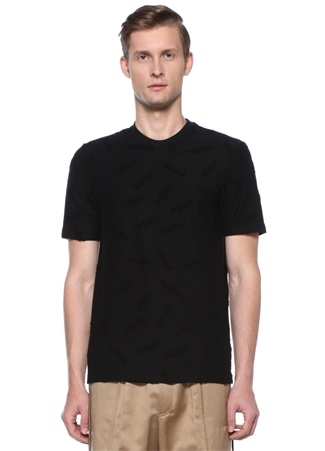 Gri Bisiklet Yaka Kabartmalı Logolu Basic T-shirt