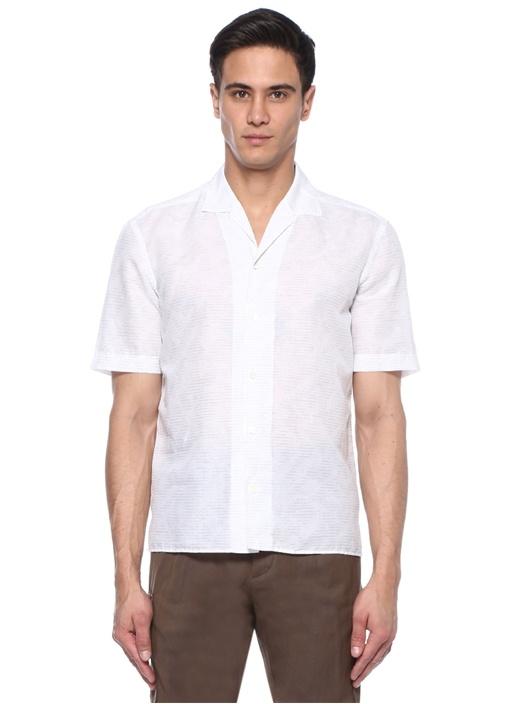 Beyaz Kamp Yaka Çizgili Keten Gömlek