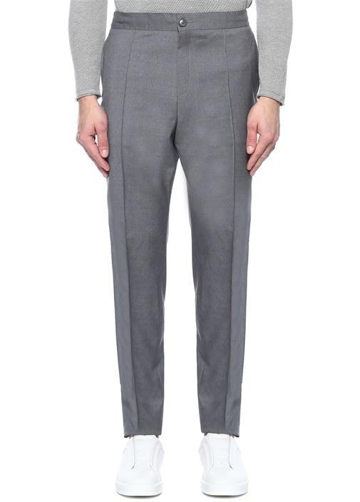 Drop 8 Gri Yüksek Bel Dar Paça Yün Pantolon
