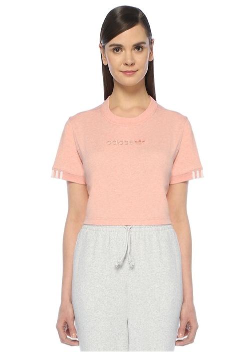 Coeeze Pembe 3 Bant Detaylı Crop T-shirt