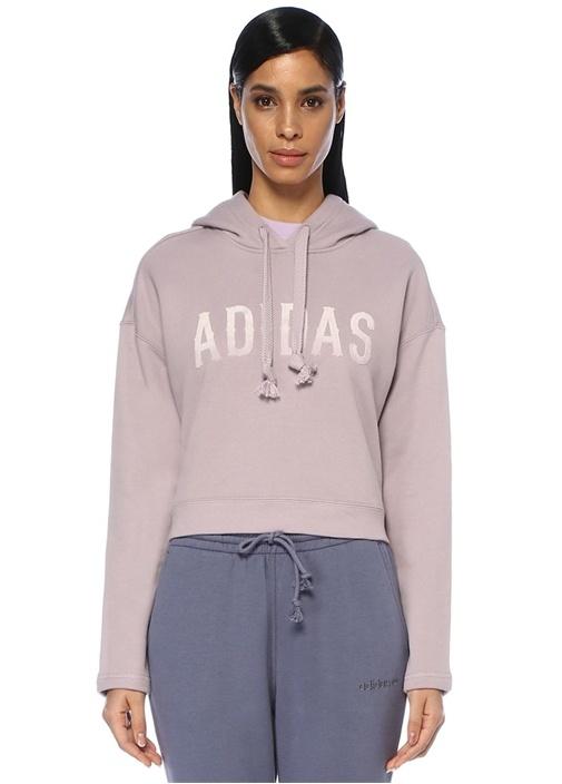 Lila Kapüşonlu Crop Sweatshirt