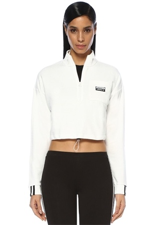 Beyaz Dik Yaka Fermuarlı Crop Sweatshirt