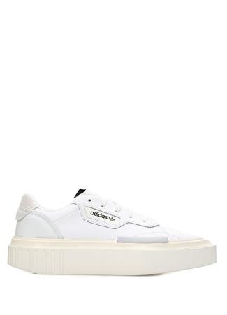 f719ea805 Hypersleek Beyaz Çorap Detaylı Kadın Deri Sneaker