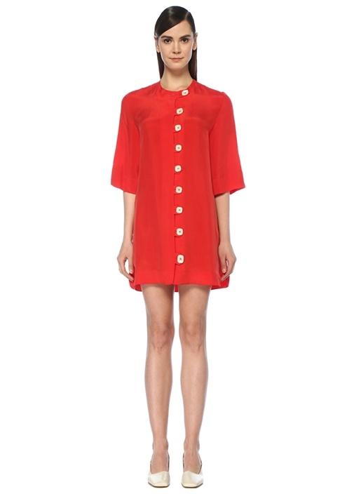 Rakha Kırmızı Bisiklet Yaka Önü Düğmeli Mini Elbise – 979.0 TL