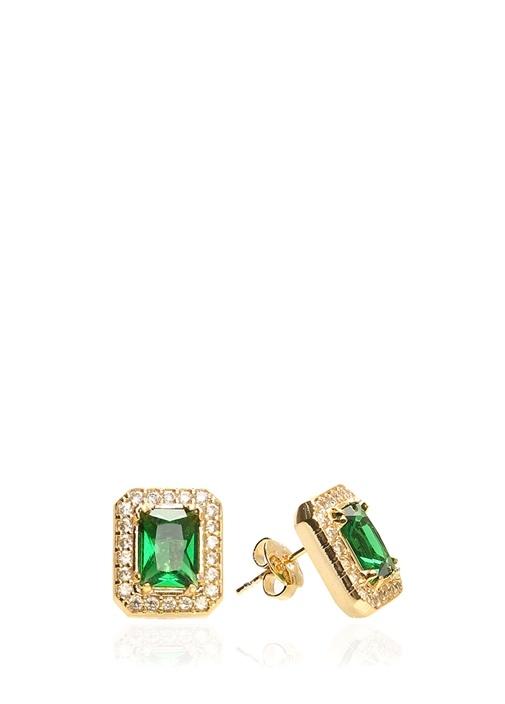 Gold Dikdörtgen Formlu Yeşil Taşlı Kadın Küpe