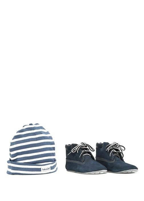 Lacivert Unisex Bebek Bot ve Şapka Seti