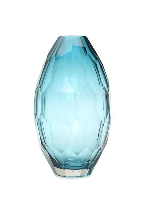Hadid Mavi Yumurta Formlu Desenli Cam Vazo
