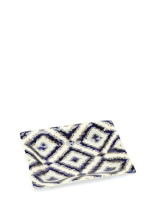 Lacivert Desenli Dekoratif Seramik Tabak