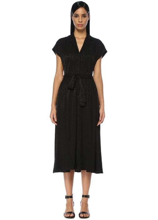 Beymen Club Siyah Apaç Yaka Jakarlı Beli Kuşaklı Midi Elbise – 699.0 TL