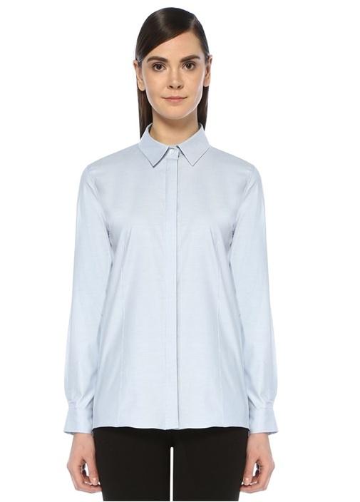 Mavi İngiliz Yaka Oxford Gömlek