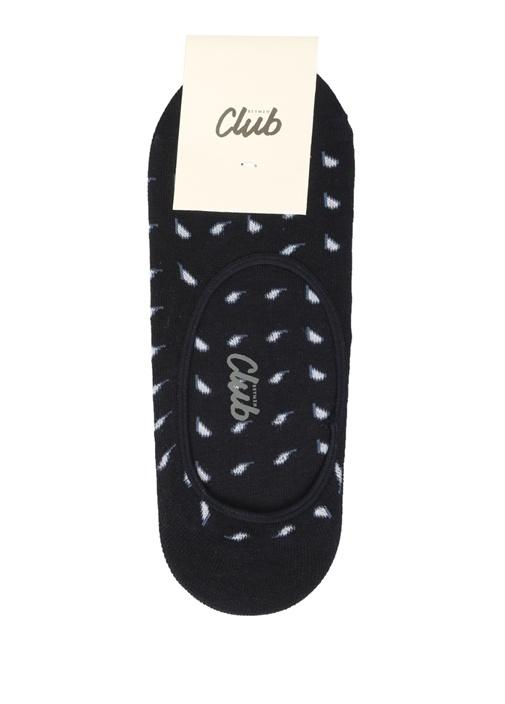 Lacivert Mikro Şal Desen Jakarlı Erkek Çorap