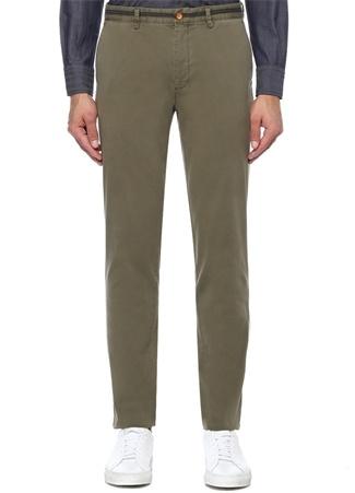 Slim Fit Haki Beli Lacivert Şeritli Chino Pantolon
