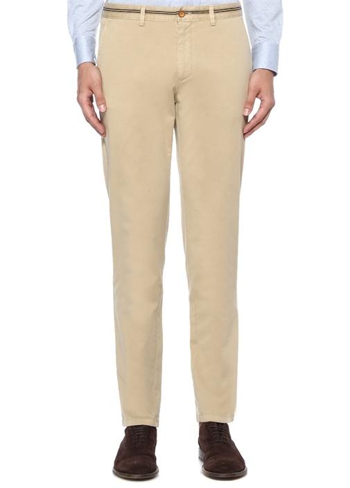Slim Fit Bej Beli Lacivert Şeritli Chino Pantolon