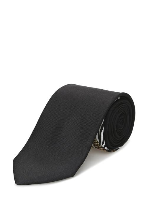 Siyah Desen Detaylı İpek Kravat