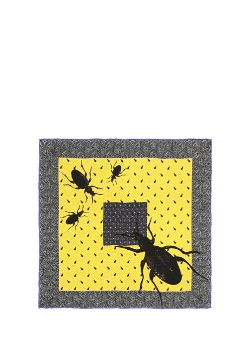 Siyah Sarı Karışık Desenli İpek Poşet Mendil