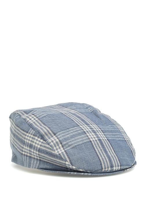Mavi Ekose Desenli Erkek Şapka