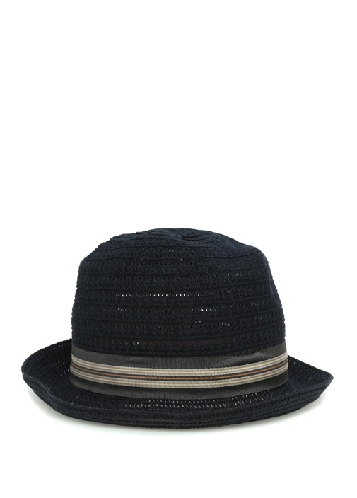Lacivert Kemer Detaylı Hasır Dokulu Erkek Şapka