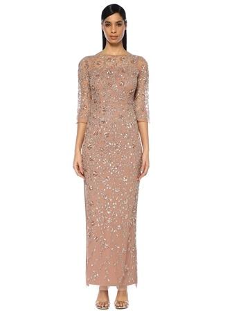 Aidan Mattox Kadın Pembe İşlemeli Yarım Kol Maksi Abiye Elbise 2 US