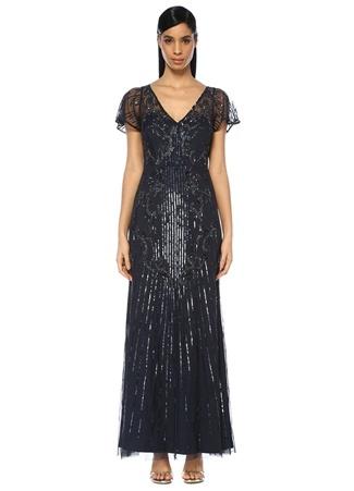 Aidan Mattox Kadın Lacivert V Yaka İşlemeli Maksi Abiye Elbise 0 US