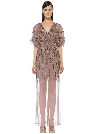 Aidan Mattox Kadın Pembe V Yaka İşlemeli Maksi Tül Abiye Elbise Altın Rengi 0 US