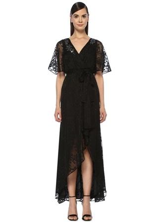 77085b375cdf4 Siyah Çiçek İşlemeli Önü Kısa Abiye Anvelop Elbise HIZLI BAK AIDAN MATTOX  ...