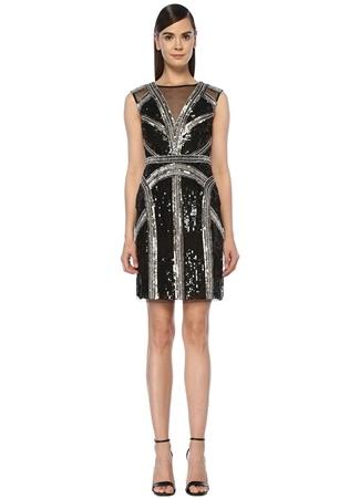 Aidan Mattox Kadın Siyah Silver İşlemeli Midi Tül Kokteyl Elbise 0 US