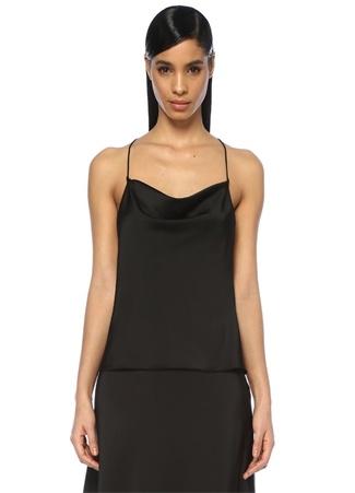 Museum of Fine Clothing Kadın Siyah Degajeli İp Askılı Saten Bluz 2 EU