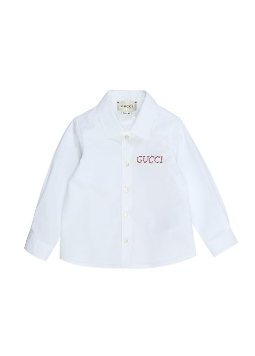 Beyaz İngiliz Yaka Logo Nakışlı Erkek Bebek Gömlek