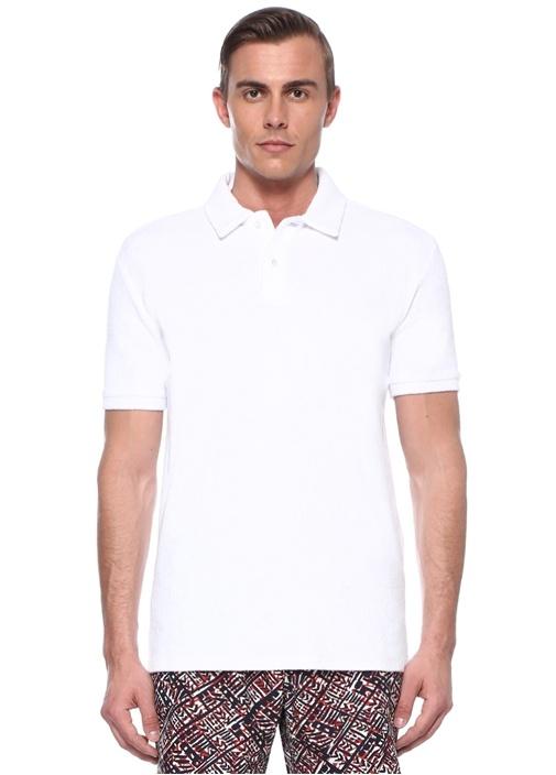 Yam Beyaz Polo Yaka Havlu Dokulu T-shirt