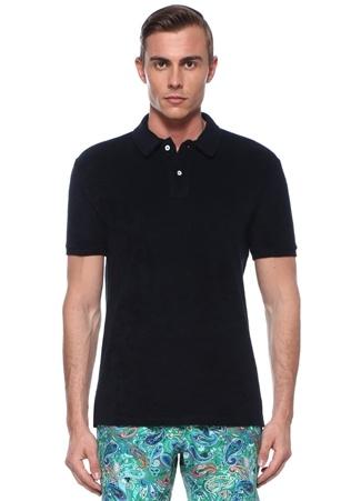 Yam Lacivert Polo Yaka Havlu Dokulu T-shirt
