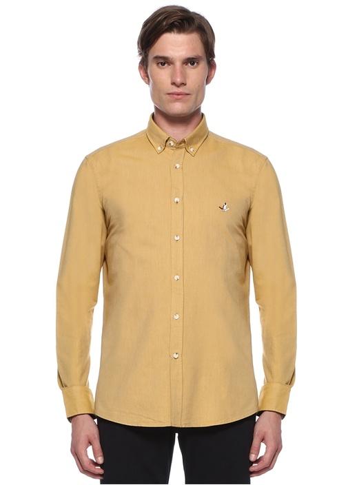 Slim Fit Hardal Düğmeli Yaka Gömlek