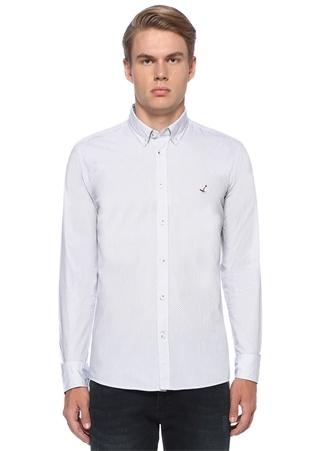 Slim Fit Beyaz Düğmeli Yaka Hücre Desenli Gömlek