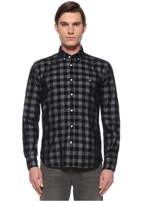 Comfort Fit Siyah Kareli Kadife Gömlek