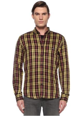 Erkek Comfort Fit Sarı Düğmeli Yaka Ekose Desenli Gömlek M