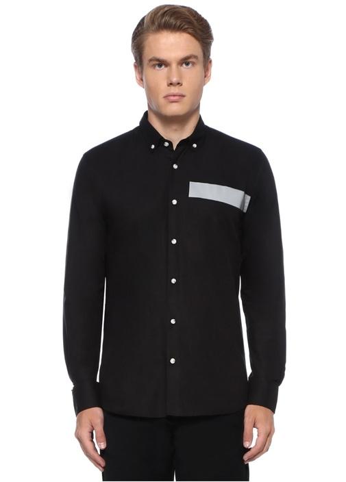 Slim Fit Düğmeli Yaka Reflektif Şeritli Gömlek