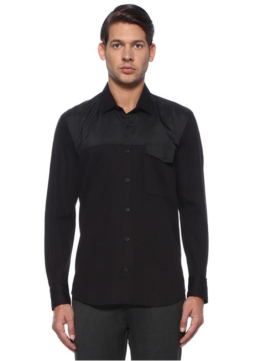 Comfort Fit Siyah Küçük Yaka Garnili Gömlek