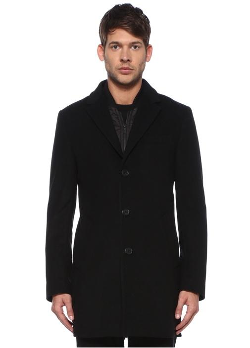 Siyah Kelebek Yaka İç Yelek Detaylı Palto