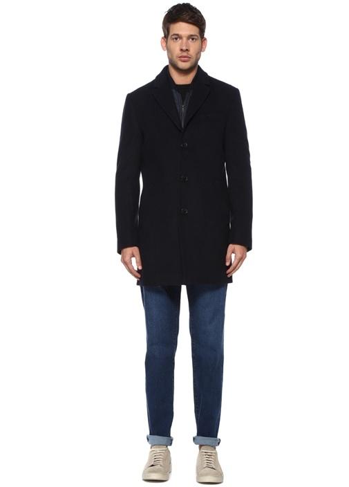 Lacivert Kelebek Yaka İç Yelek Detaylı Palto