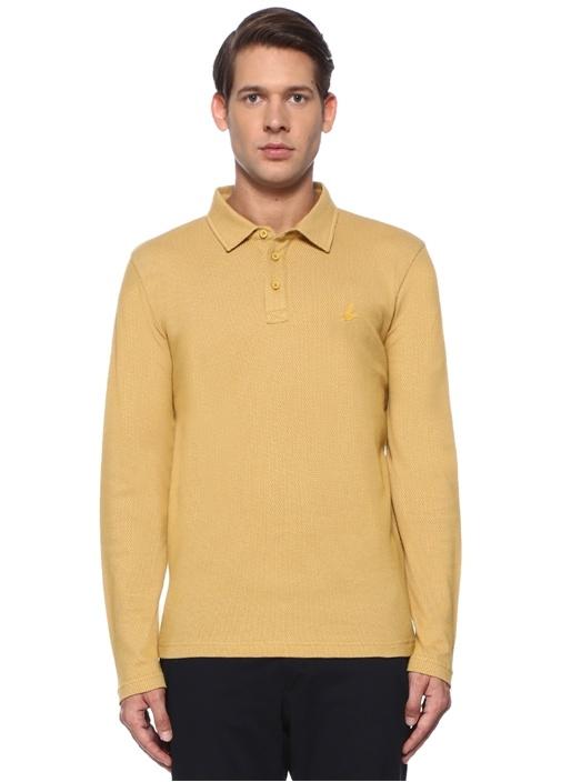 Slim Fit Hardal Polo Yaka Petek Dokulu Sweatshirt
