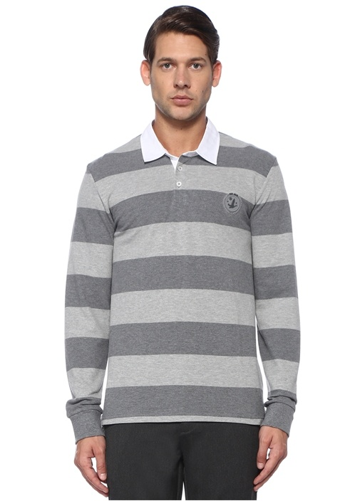 Antrasit Gri Polo Yaka Şeritli Sweatshirt