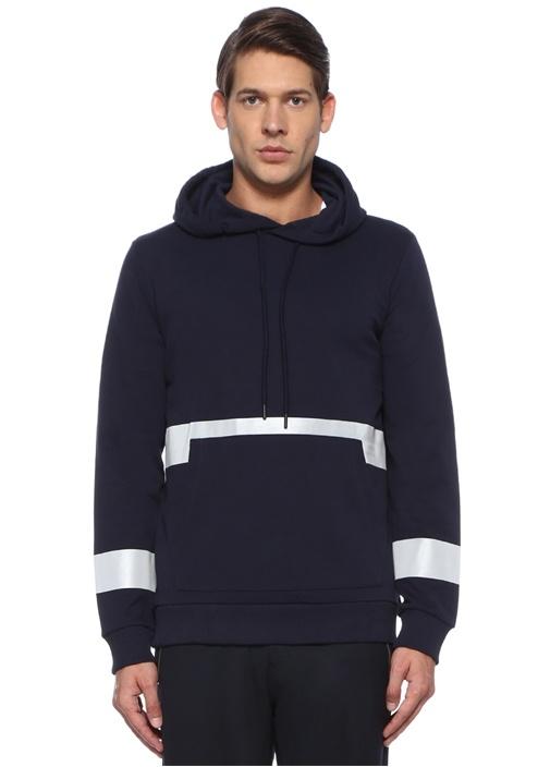 Lacivert Kapüşonlu Reflektif Şeritli Sweatshirt