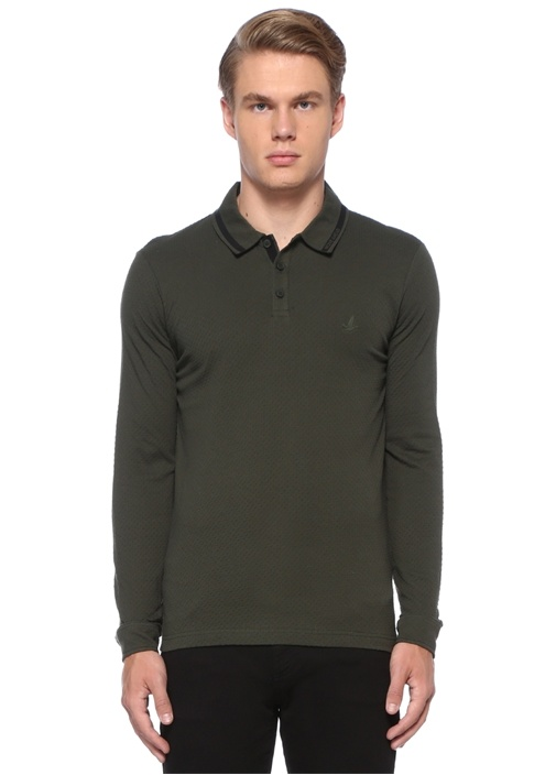 Slim Fit Haki Polo Yaka Sloganlı Sweatshirt
