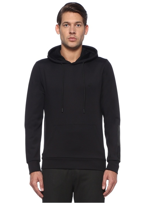 Siyah Kapüşonu File Astarlı Logolu Sweatshirt