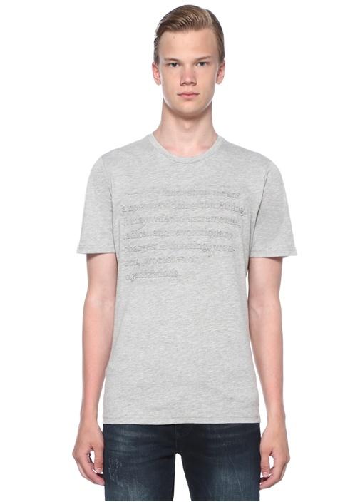 Innovation Gri Melanj Kabartmalı Baskılı T-shirt
