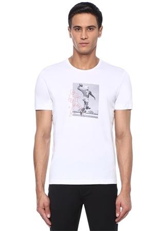 Bisiklet Yaka Rugby Oyuncu Baskılı Basic T-shirt