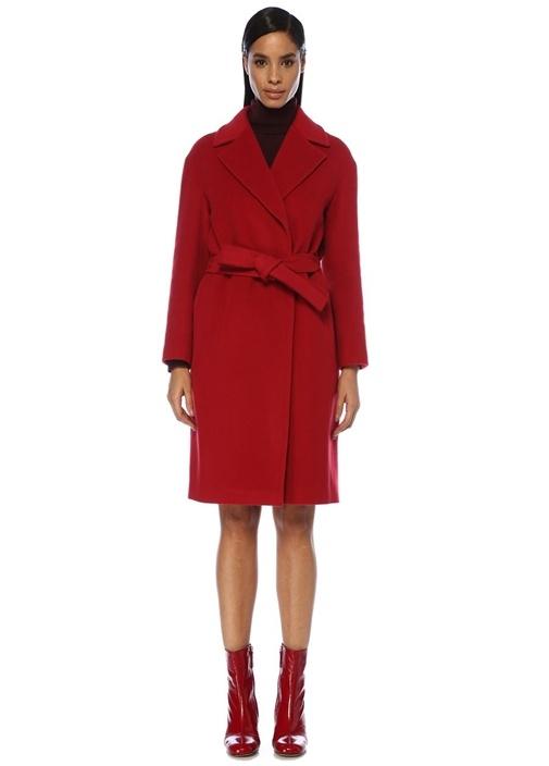 Kırmızı Beli Kuşaklı Kruvaze Yün Kaşe Palto