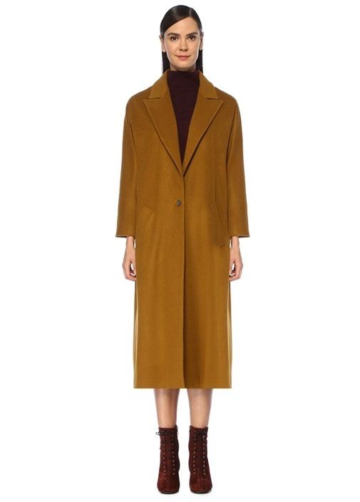 Hardal Tek Düğmeli Klasik Yün Palto